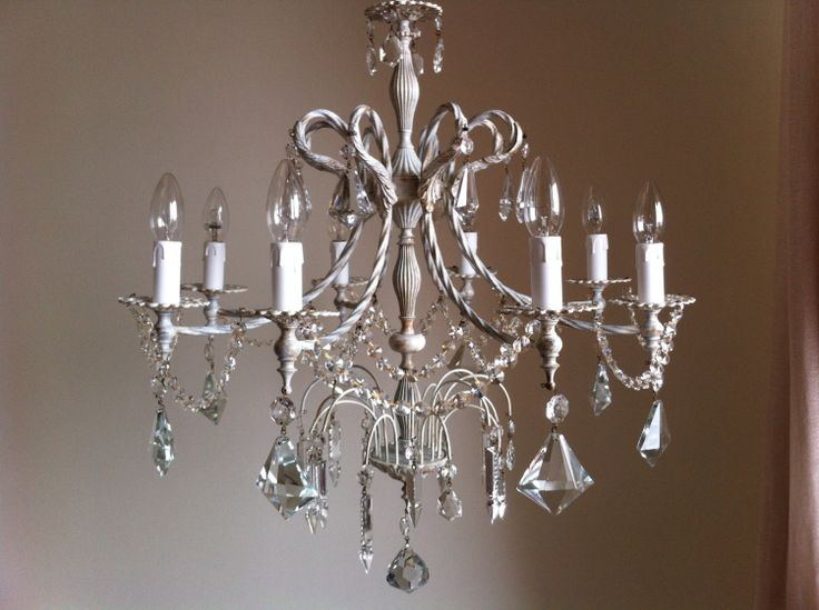 Distressed shabby chic chandelier 8 arms crystal
