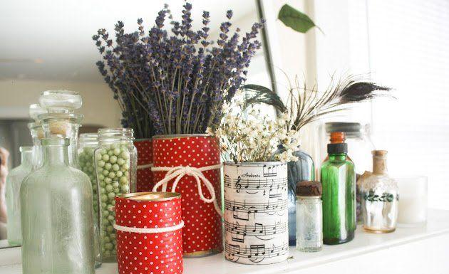 Latas recicladas y decoradas con tela
