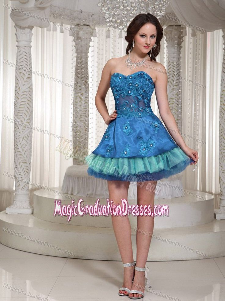 ... Sweetheart Mini-length 5th Grade Graduation Dresses in Blue and Teal