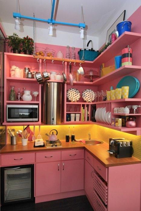 lovely little pink kitchen  kitchens  Pinterest