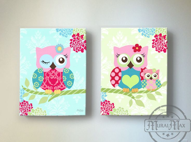 Owl nursery decor owl canvas art baby girl nursery owl decor 10 x - Girl owl decor ...