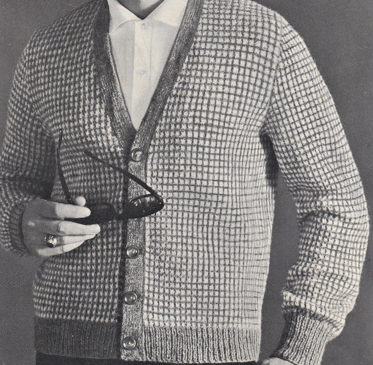 Knit Mens V-Neck Crosshatched Cardigan Vintage Knitting ...