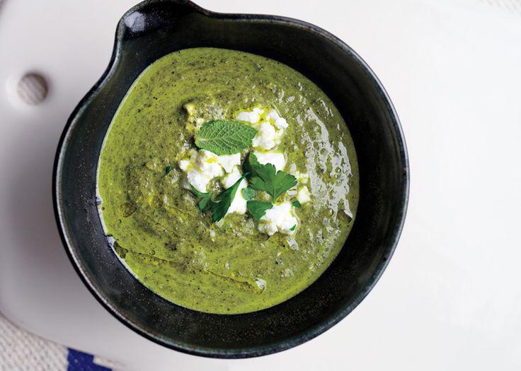 Herb, Chard, and Feta Soup - Bon Appétit (210 calories/serving)