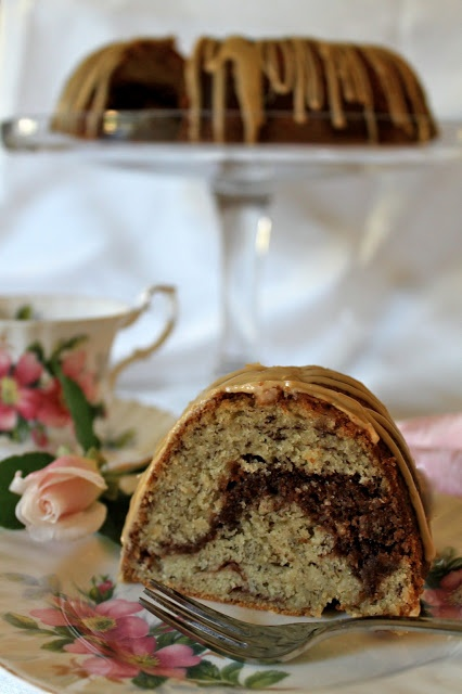 Christinas Cucina: Banana Nutella Swirl Bundt Cake with Coffee Icing