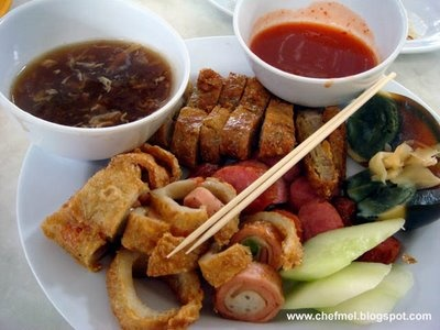 Loh Bak - Marinated minced pork, then roll in thin soybean sheets and ...