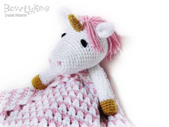 Unicorn Lovey CROCHET PATTERN instant download - blankey, blankie, se ...