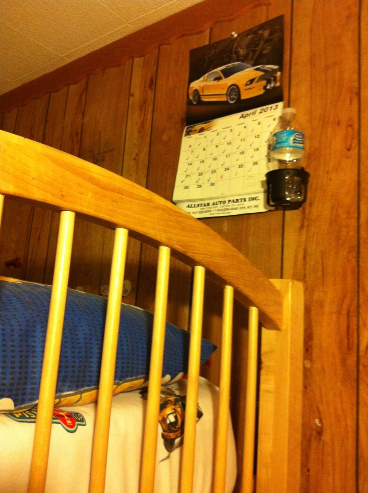 idea for bunk bed cup holder from car seats