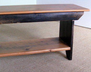 Custom Made Barn Wood Plank Bench With Shelf