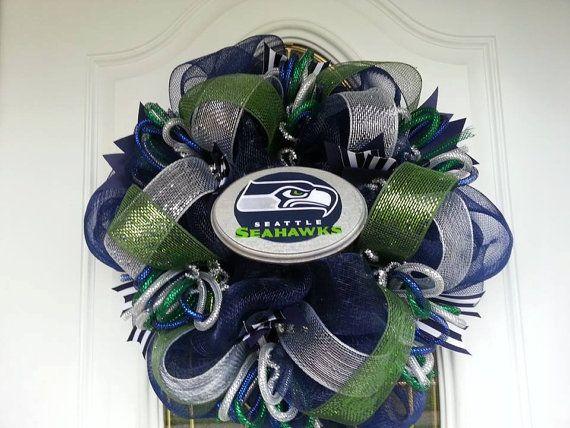Deco Mesh Wreath Seattle Seahawks on Etsy, $30.00