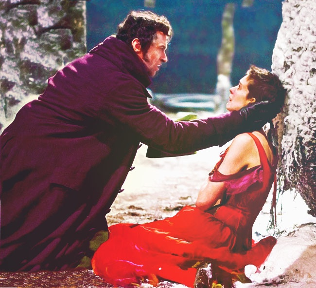 Hugh Jackman as Jean Verljean and Anne Hathaway as Fantine from the new Les Mis movie