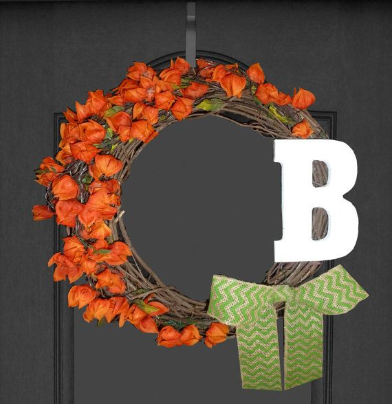 Monogram Fall Wreath Fall Decor Home Front Door by RefinedWreath, $60.00