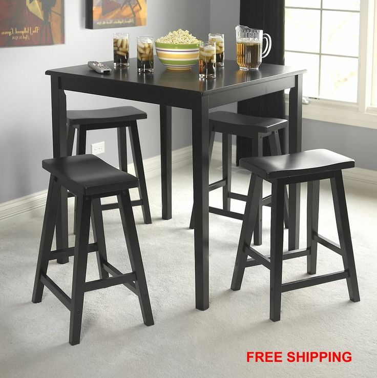 5 piece wood dining set table saddle stools casual kitchen furniture - Casual kitchen sets ...