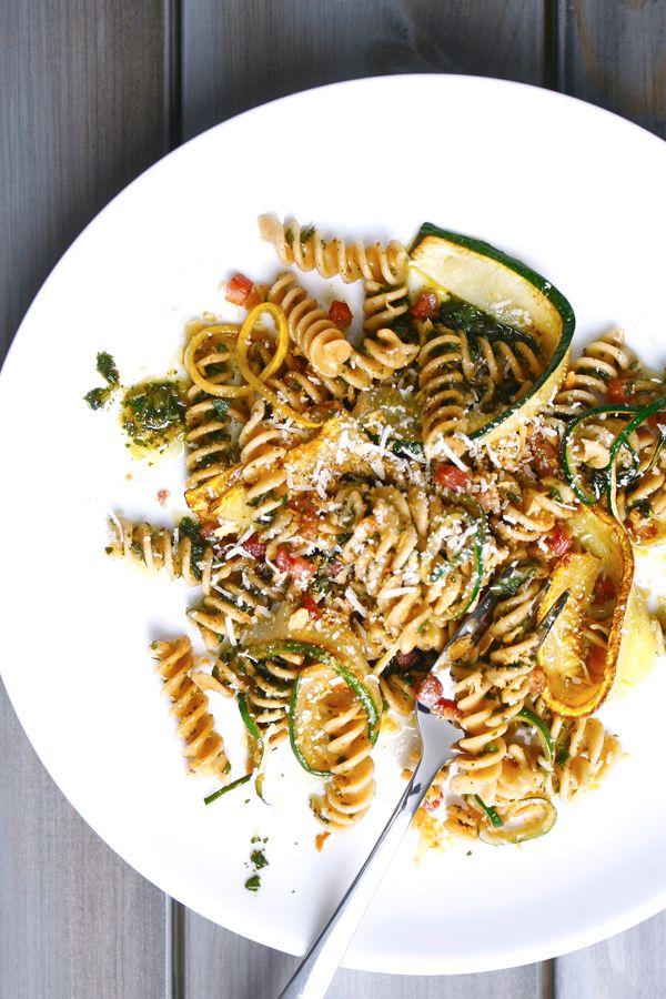 Recipe for Whole-Wheat Pesto Pasta with Zucchini & Pancetta | DeLallo ...