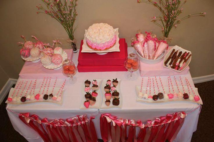 Mesa completa de postres para el baby shower de ni a for Como decorar mesa de postres para baby shower