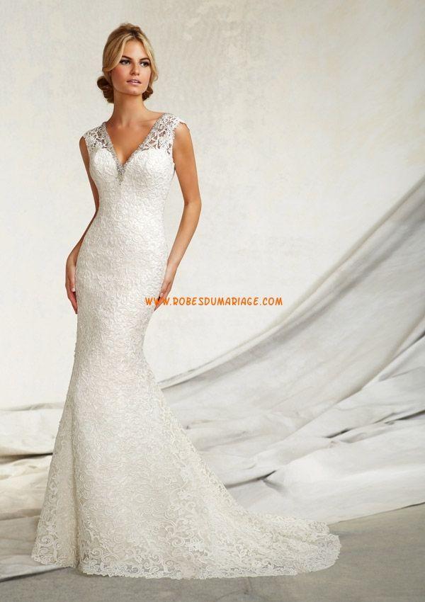 Col V dentelle robe de mariée sirène  robe de mariée Cergy ...