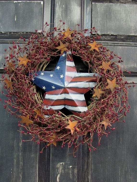 Primitive Americana Star Wreath Americana Home Decor