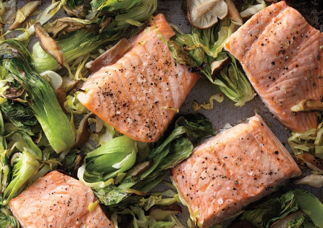 Salmon With Wasabi Sauce And Baby Bok Choy Recipes — Dishmaps