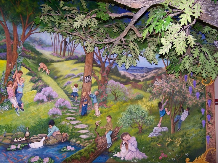 Pin by glenda stevens on murals by glenda and marcie for Enchanted forest wall mural
