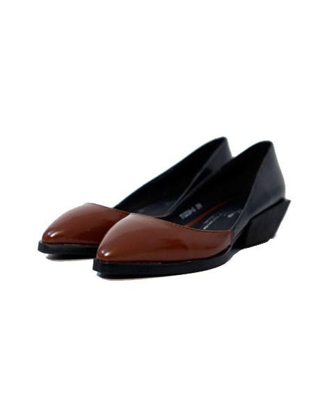 Point Toe Color Block Shoes with Unique Heel Details