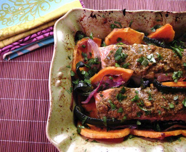 Cilantro-Pesto Salmon with Roasted Sweet Potatoes & Poblano Peppers ...