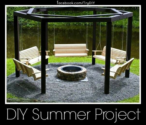 Swings and a fire pit cool garden outdoor ideas pinterest for Cool porch swings