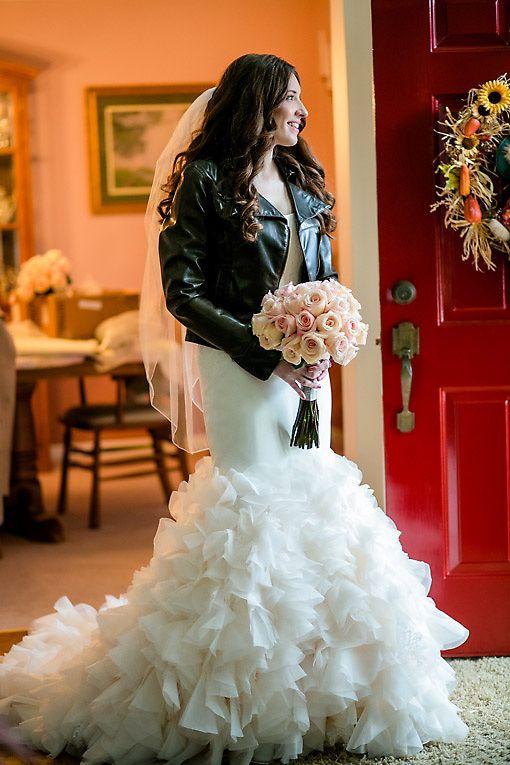 leather jacket and wedding dress wedding ideas pinterest