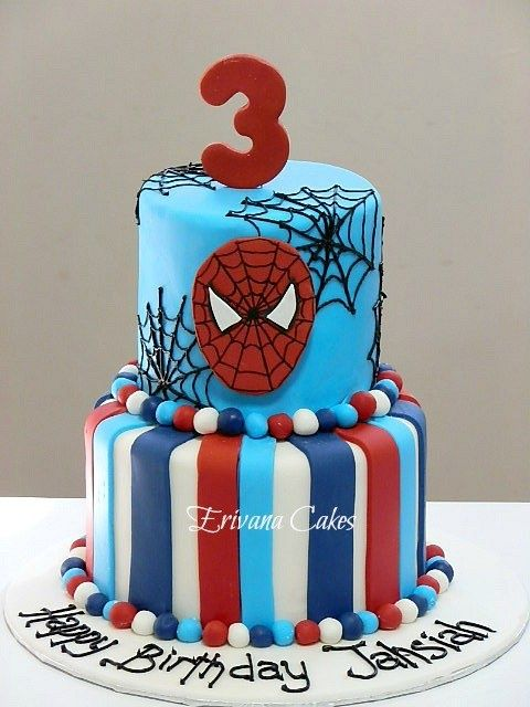 Spiderman cake- my Ethan needs the top of this for Saturday