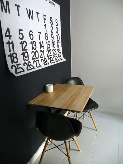How to fit a dining room into small spaces - Dining table against the wall ...