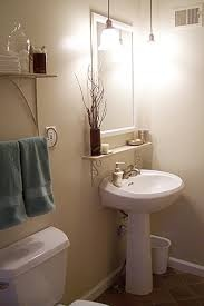 Pedestal Sink With Counter Space : ... sink - small bathroom. I Like the small shelf above the pedestal sink