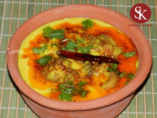 Sindhi Kadhi- chick pea fritters (pakori) with spicy yogurt sauce
