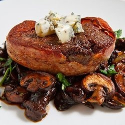 Double Smoked Bacon Wrapped Fillet Mignon with Caramelized Mushrooms