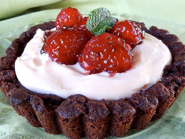 Chocolate Crusted Tart with Orange Yogurt Crème and Fresh Raspberries