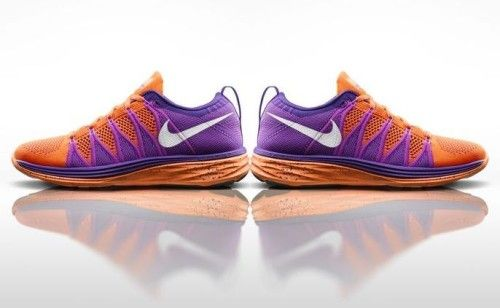Good running shoes for women? Nike Flyknit Lunar2. Purple and orange