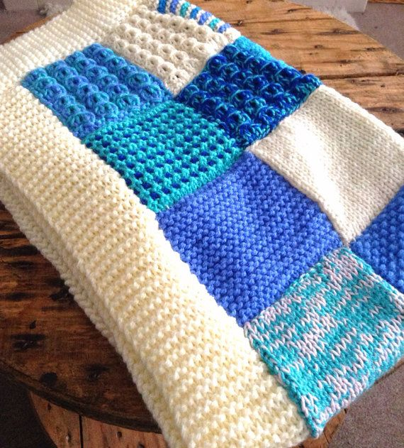 Knitting Pattern For A Patchwork Blanket : Knitted Patchwork Blanket - Blue - Baby Blanket - Lap Blanket - Throw?
