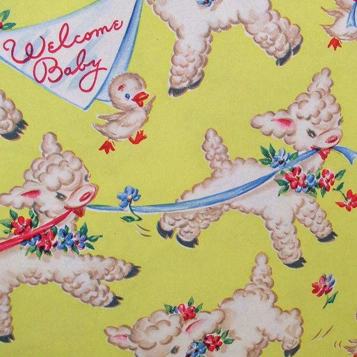 vintage baby gift baby shower wrapping paper darling