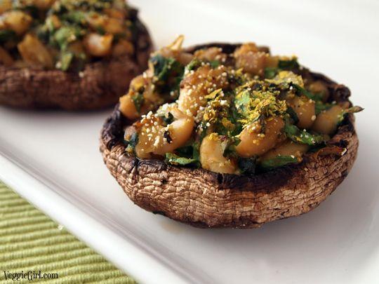 Stuffed Portobello Mushrooms (met onder andere cannellinibonen en ...