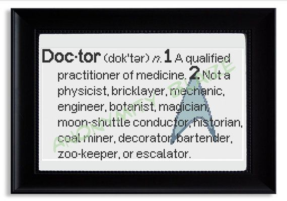 Doctor Definition Cross Stitch Pattern-Dammit Jim, I'm a doctor, not a ...