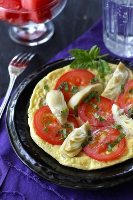 Summertime Frittata Recipe with Artichoke, Tomato Basil Pesto