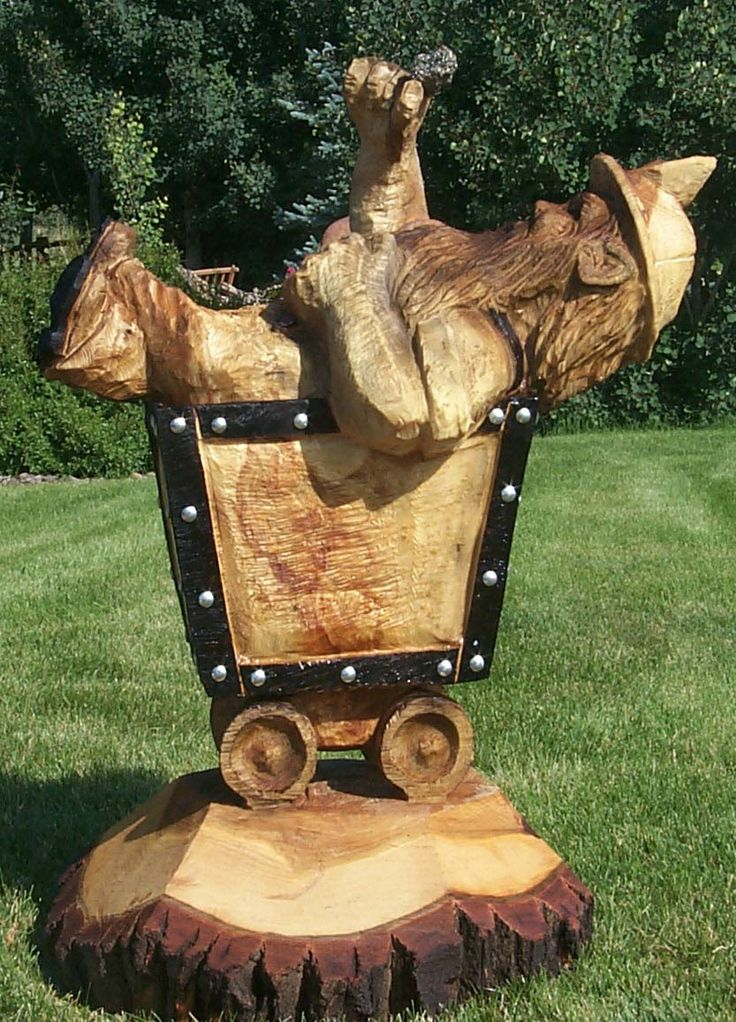 Miner in ore cart chainsaw carving pinterest