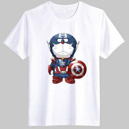 Men's T-shirt US Captain Doraemon Captains America