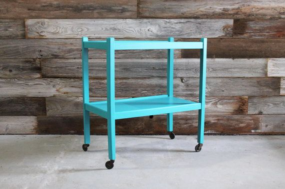 Vintage Turquoise Blue Rolling Bar Cart Side by UptownHeirloomCo, $175