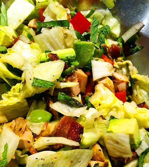 , sauteed lemon garlic asparagus, bacon, red bell pepper, snow peas ...