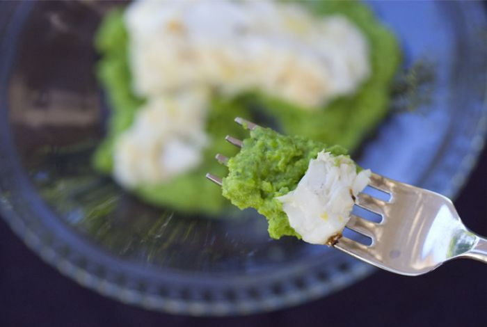 Grilled Halibut with Green Pea Coulis   Recipe