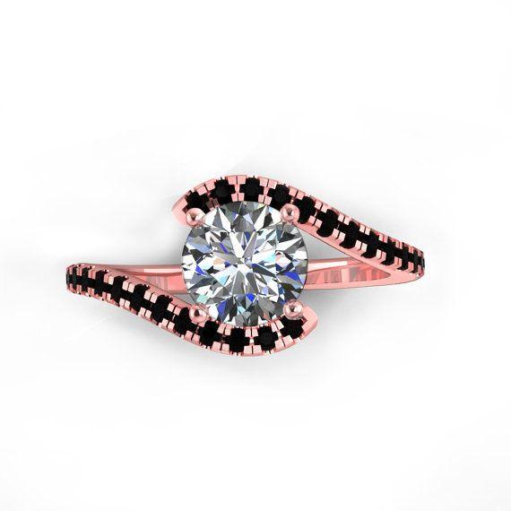 black diamond rose gold engagement ring style 40RGBLM