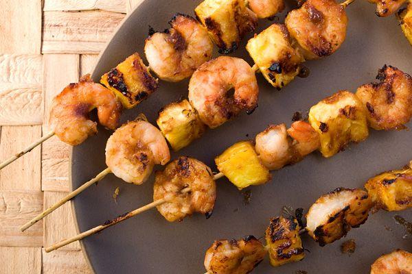 Pineapple-Glazed Shrimp Skewers .... Skewers of grilled shrimp and ...