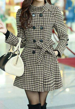 Elegant Double Breast Stand Color Sash Plaid Tweed Coat