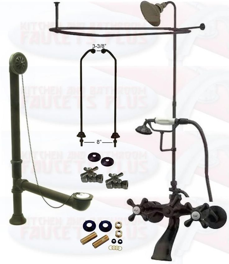 Oil Rubbed Bronze Clawfoot Tub Faucet Kit W Shower Riser Enclosure