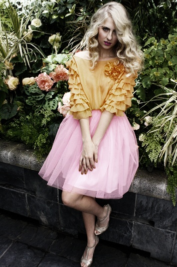 tangerine blouse and pink tulle skirt