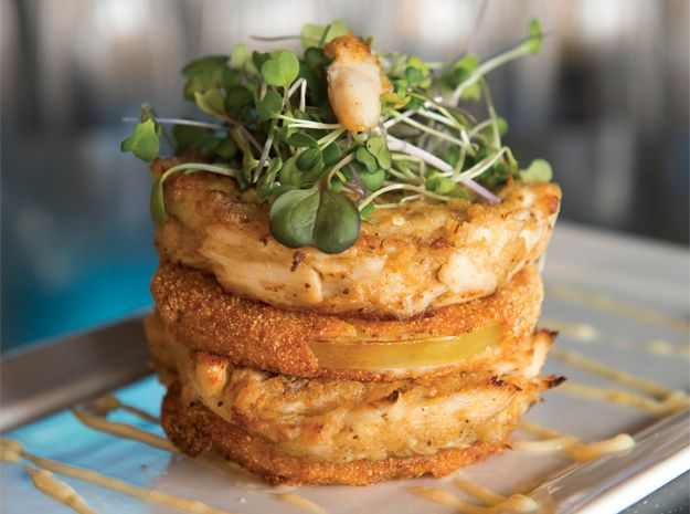lump crab cakes with fried green tomatoes, lemon aioli and remoulade ...