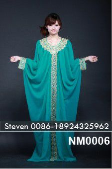 Green embroidery stones beaded bat abaya designer jilbab gzcatherine
